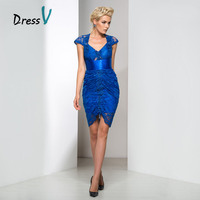 Dressv Royal Blue Lace High Low Cocktail Dresses 2017 Cap Sleeve Sheer Back Sequin Plus Size Homecoming Dresses Prom Party Gown