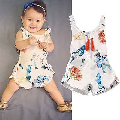 2017 New Baby Kids Girls Summer Clothing Sleeveless Floral Cotton Romper Jumpsuit Outfits