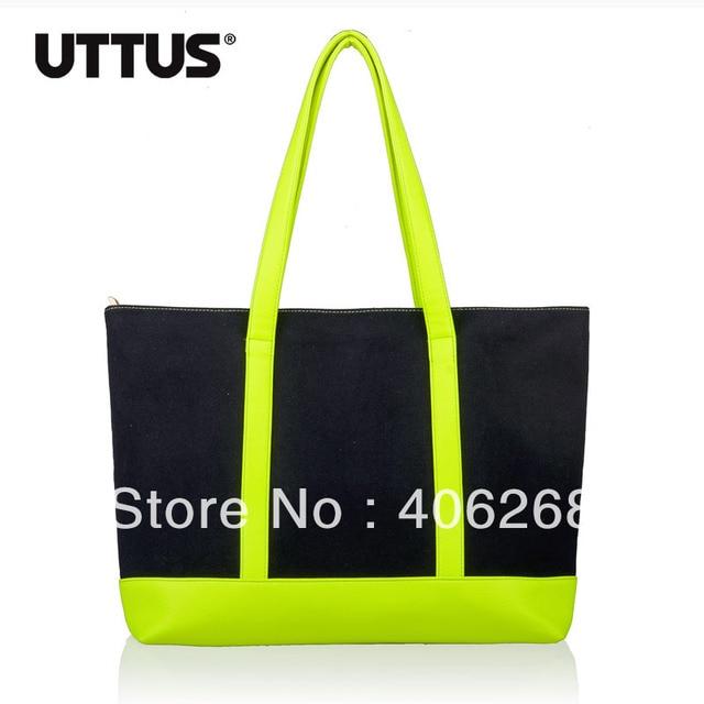 free shipping fashion Neon color block  canvas bag ladies' handbag shoulder bag