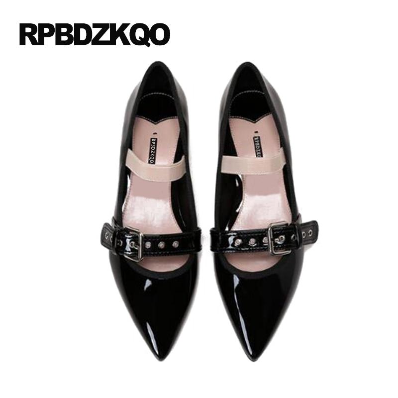 0303b3410 Nu Designer Sapatos Famosos Da Marca Alta Qualidade Couro De Patente Mary  Jane Apontado Para Cima Sapatos Rasos Salto Baixo Balé Senhoras Preto  Bailarina ...