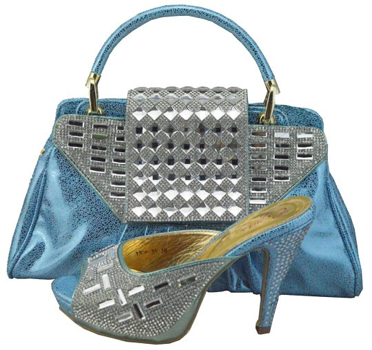 ФОТО Latest Italian Shoes With Matching Bags High Quality Women Shoes And Bags Set With Stones Sandals Shoes And Bag Set 1308-36