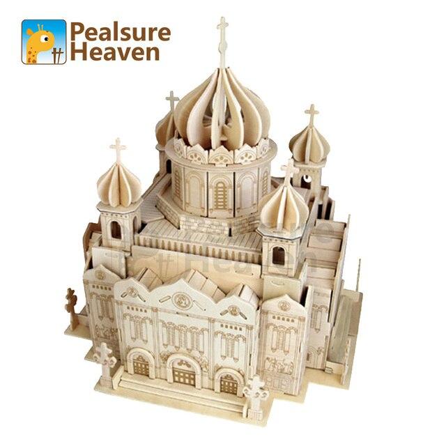 3D Деревянные Головоломки DIY Модель Церкви Дом деревянный храм христа спаситель Известный Здание Серии Лучший Подарок Для Детей