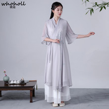 WHOHOLL 2019 New Cheongsam Vintage Chinese Women Elegant Dress Silk White Embroidery Long Qipao Evening Vestidos S-XL