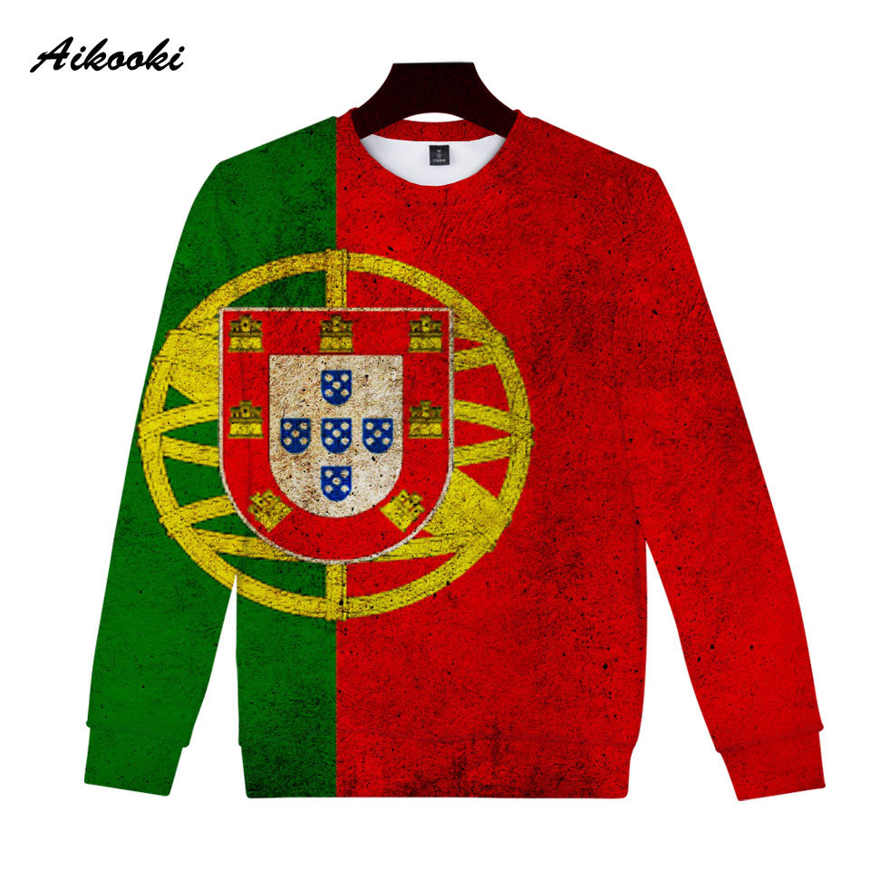 Aikooki Portugal National Flag 3D Sweatshirt Men/Women Hoodies 3D Print Portuguese Flag Cotton Polluvers Man Lady 3D Sweatshirts