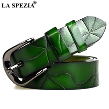 LA SPEZIA Green Belt Leather Women Fashion Ladies Real Cowskin Pin Buckle Female Luxury Brand