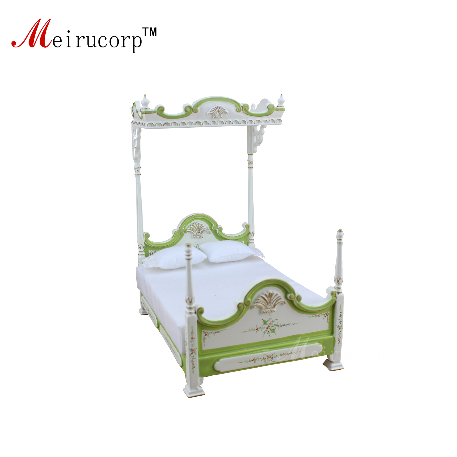 Dollhouse 1:12 scale Miniature furniture Hand painted Classical Luxury Bed 10667 1 12 scale dollhouse miniature furniture retro european palace bedroom bed 10339