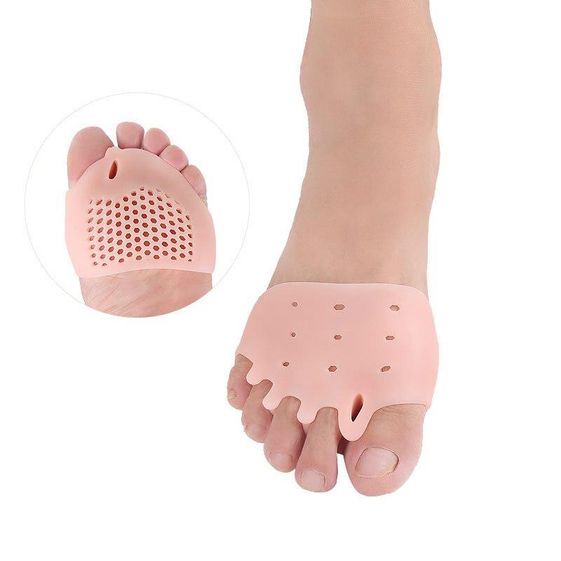 Gel Insoles Five Hole Honeycomb Front Pad Hallux Valgus Big Toe Bone Overlap Shock Absorption Toe Finger Set Orthopedic Insoles plus flutter sleeve overlap front fit