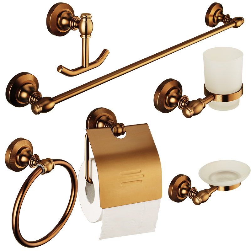 Europe Aluminum Antique Bronze Brass Finish Bathroom Accessories Sets 6 items( Towel Bar/Hook/Towel Ring/Soap Dish/Paper holder) apl 6411 12 bathroom classic brass paper holder towel ring with lotus carving base bronze