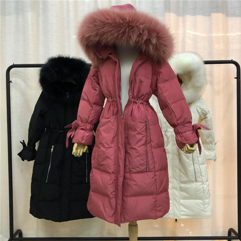WSYORE 2019 New Winter Korean Style Large Size Big Fur Collar Parker   Down   Jacket Female Loose Long Duck   Down     Coat   Women NS1304