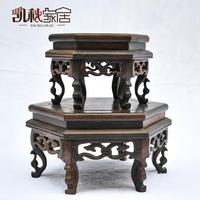 KaiQiu household carved mahogany archaize hexagonal flower jade carving handicraft furnishing articles solid wood base