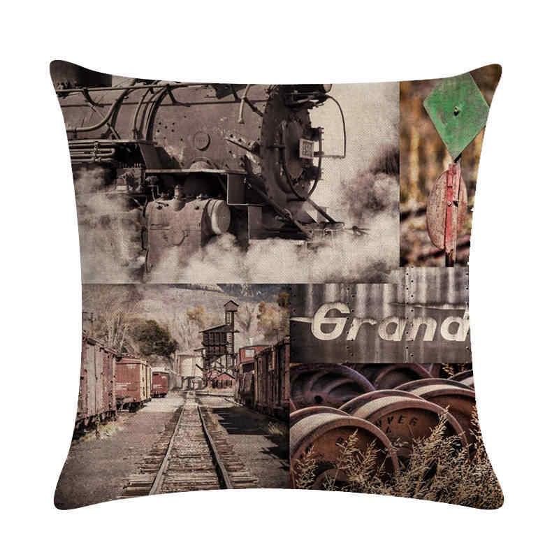 Retro Steam Train Designs Industrial Revolution Pillowcase Cotton Linen Car Seat Cushion Cover 45x45cm Throw pillow Cover