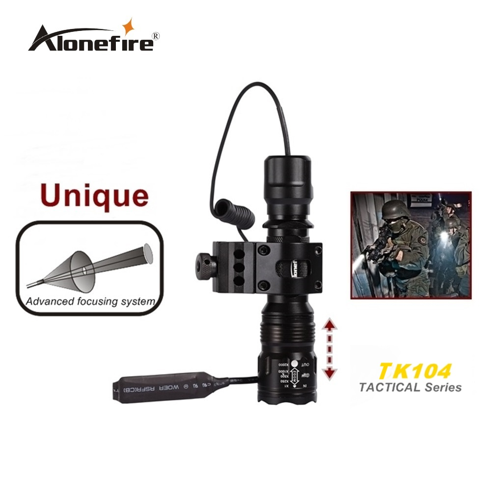 Alonefire TK104 CREE XM-L2 U3 LED Lampu suluh taktikal Torch lantern 20mm Mount Airsoft Rifle Scope Shotguns cahaya 18650 bateri