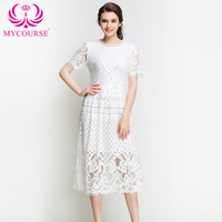 Black White Lace Dress Spring Summer Elegant Ladies Office Dress Short Sleeve Hollow Out Sexy Midi