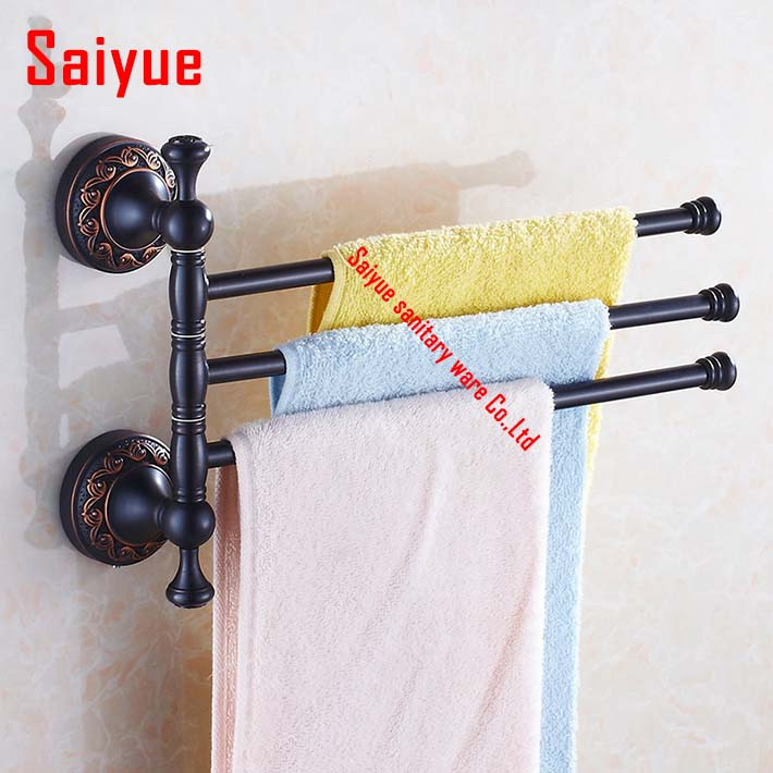 Oil rubbed bronze antique brass Towel Bar Rotating Towel Rack Bathroom Kitchen Towel Polished Rack Holder Hardware Accessory factory retail antique brass oil rubbed bronze toothbrush holder w single ceramic cups