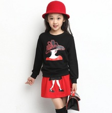 3-11 Years Girls Clothing Set 2pcs Long Sleeve Sweater+ Skirt Suits Spring Autum Baby Kids Cotton Clothes Set KF067