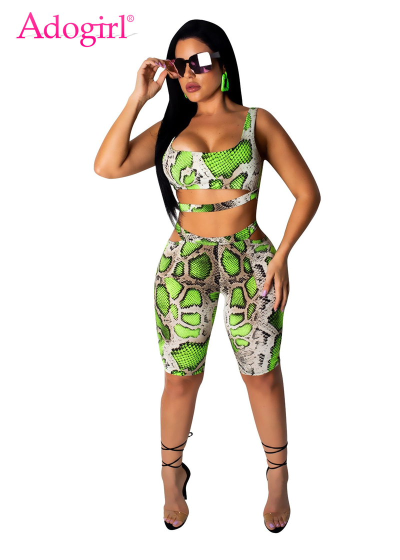 Adogirl Snakeskin Print Casual Two Piece Set Women Tracksuit Cutout Tank Crop Top + Knee Length Pants Summer Shorts Club Outfits