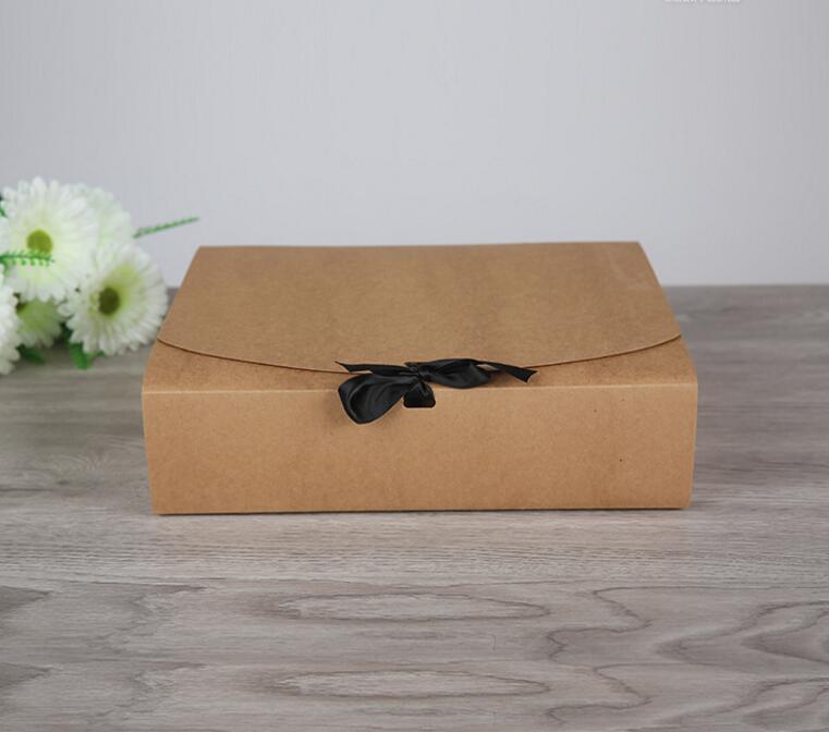 Size: 31*25.5*8cm Large kraft box paper, 150pcs big foldable cardboard box for gift, kraft paper storage box