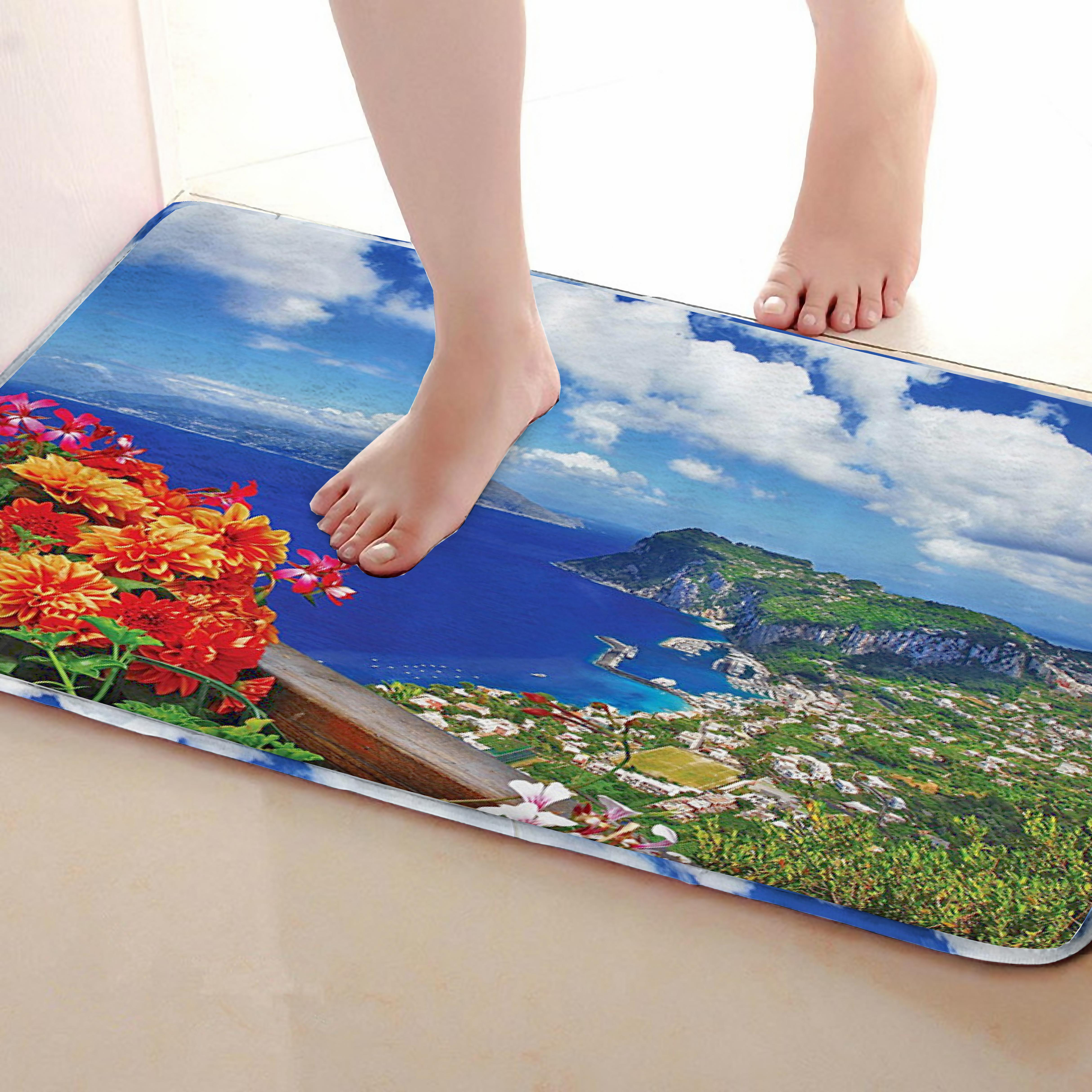 Landscape Style Bathroom Mat,Funny Anti Skid Bath Mat,Shower Curtains Accessories,Matching Your Shower Curtain