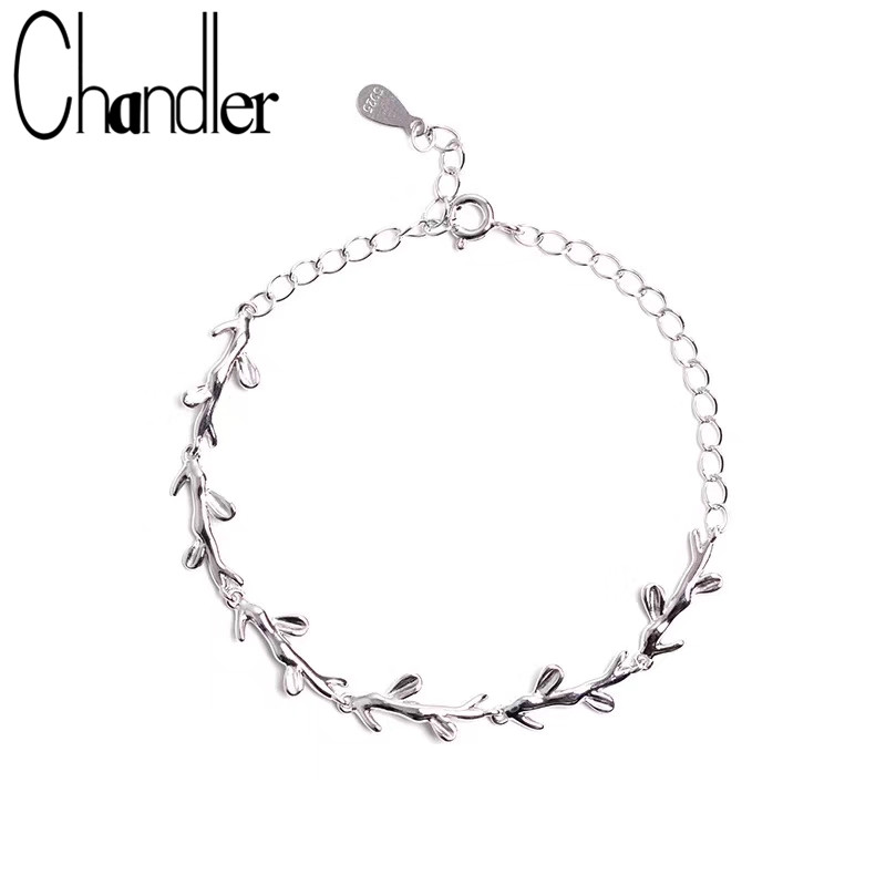 Chandler Olive Branch Bracelet Bangle For Women Silver Plated With 925s Stamp Lucky Accessary Fashion Korean Simple Cuff Bijoux