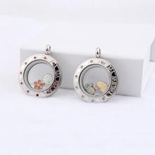 Плавающий медальон с подвесками из нержавеющей стали 316L живой камень памяти амулеты пластины Подвеска для хранения ожерелье серебро с кристаллами
