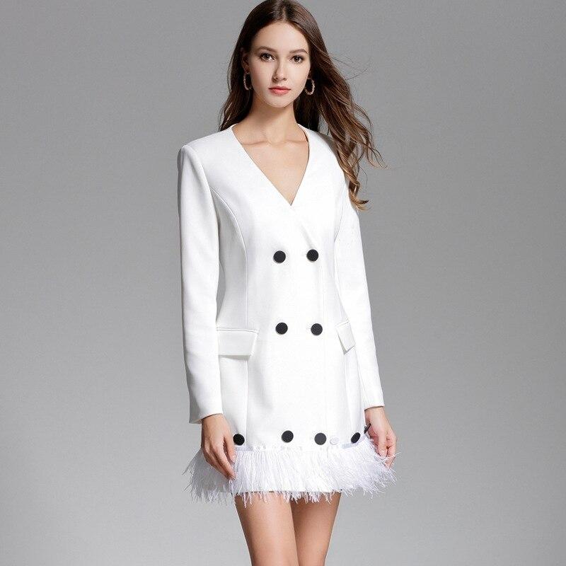 Haut de gamme femmes gland robe blanche Vetement Femme 2018 printemps Double boutonnage manches longues Mini robe de soirée Strand Jurkjes D1611