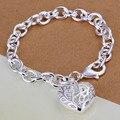 Joyería de moda colgante grande del amor del corazón cuff pulseras para las mujeres plateado lady regalos de metal de acero inoxidable bijoux INE118