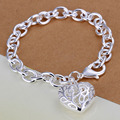 fashion jewelry hanging large love heart cuff bracelets for women silver plated lady gifts stainless steel metal bijoux INE118