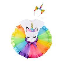 Baby Girls Dress For Girl Unicorn Tutu Rainbow Princess Party 1 to 8 Years Birthday Outfits vestidos de fiesta