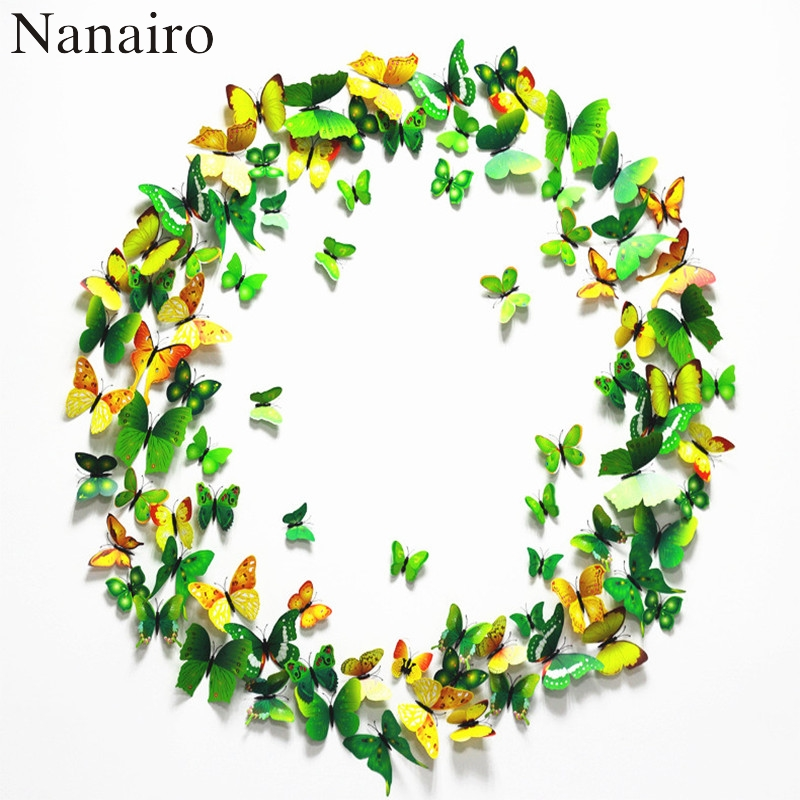 12 pcs 8 Colors 5 cm 3D Plastic Realistic Artificial Butterfly In The Wedding Decoration House DIY Scrapbooking Home Decorative