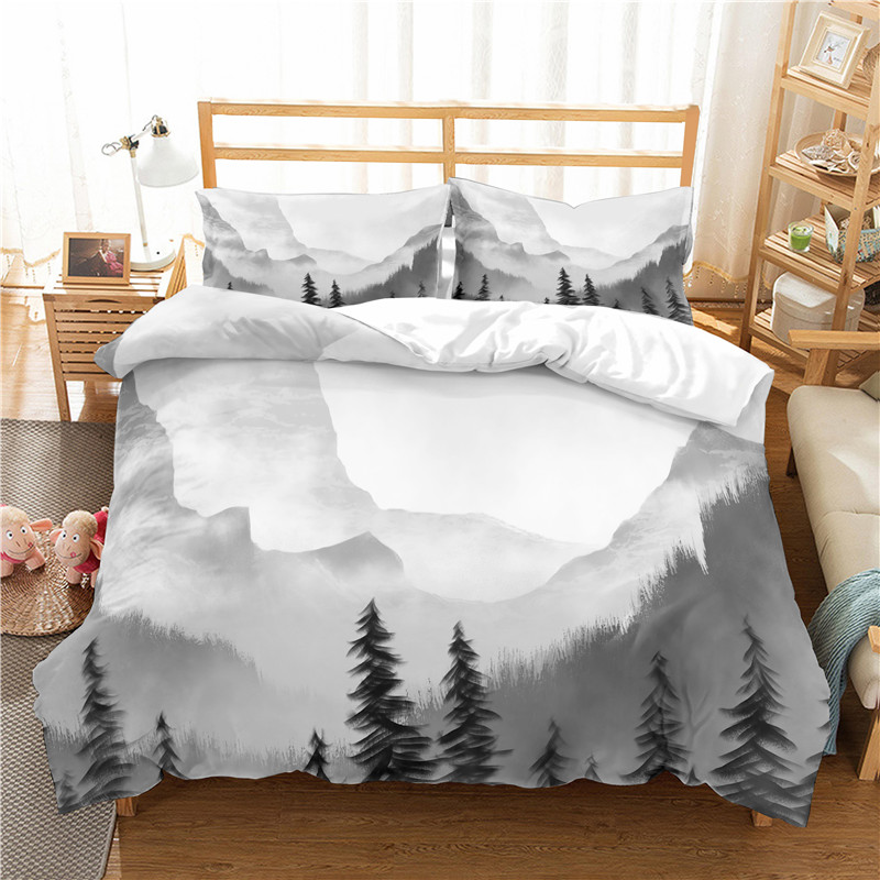 3D Print Bedding Set White Mist Shrouded The Mountains Frinds' Gift Bedding Sheet Duvet Cover Set Home Textiles