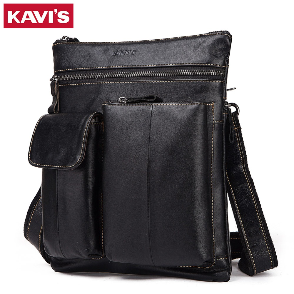 KAVIS Small Men Genuine Cowhide Leather Messenger Male Bag Shoulder Bag Crossbody Casual Slim Sac Holder