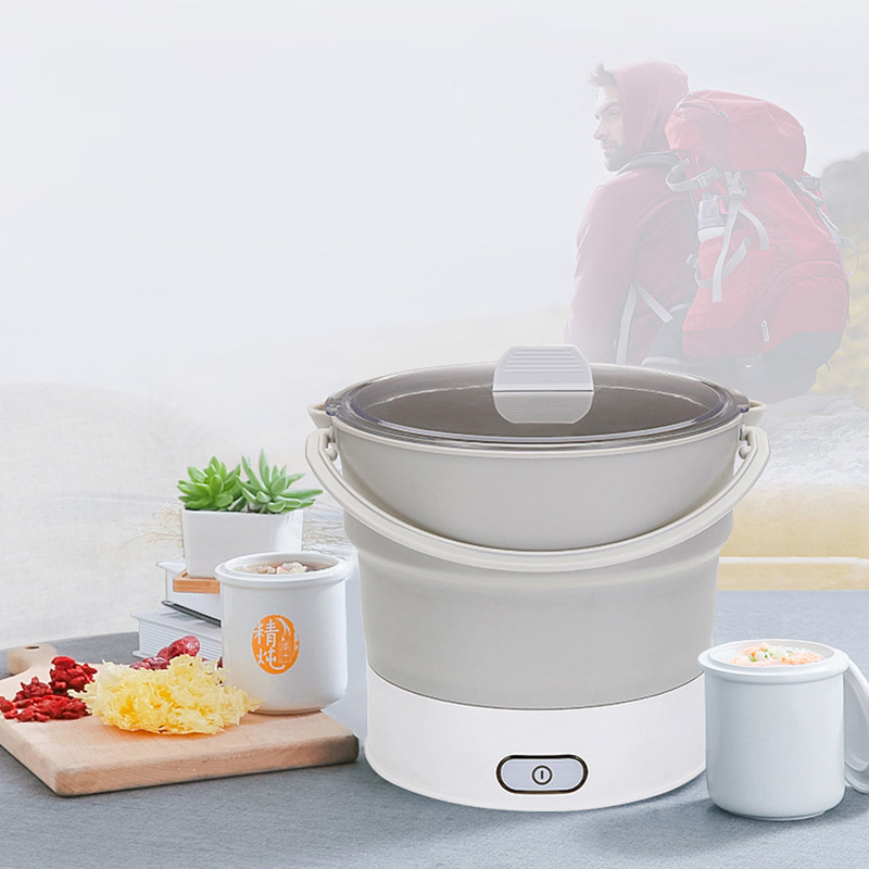 Folding Electric Skillet Kettle Heated Food Container Heated Lunch Box Cooker Portable Hot Pot Cooking Tea Us Plug in Electric Kettles from Home Appliances