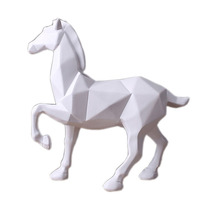 Abstract white horse statue resin jewelry home decoration living room decoration accessories gift geometry white horse sculpture