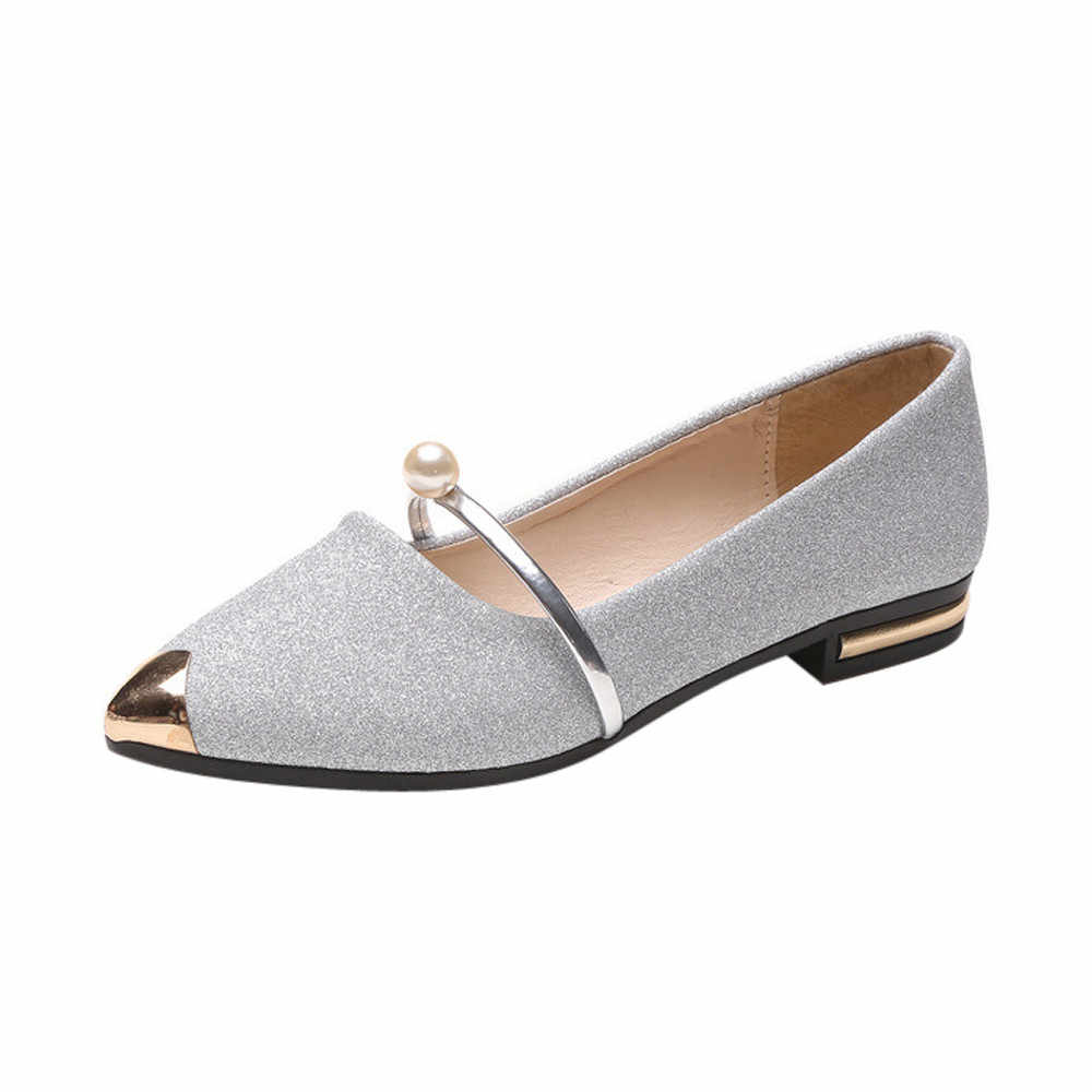 SAGACE Women's Casual Pointed Shallow Mouth Shoes Spring/Autumn Solid Sweet Leather Low Heel Shoes Spring Outdoor Flats No6