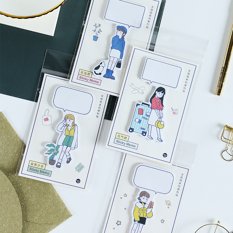 1 Pcs Girl Series Memo Pad Notepad Dialog Paper Adhesive Post Notes Sticky Kawaii Stationery Papeleria School Supplies Gift