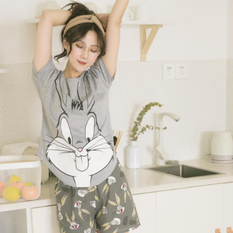 Short pants + short sleeve tops   pajamas     sets   cotton nightwear big yards cartoon pyjamas women summer