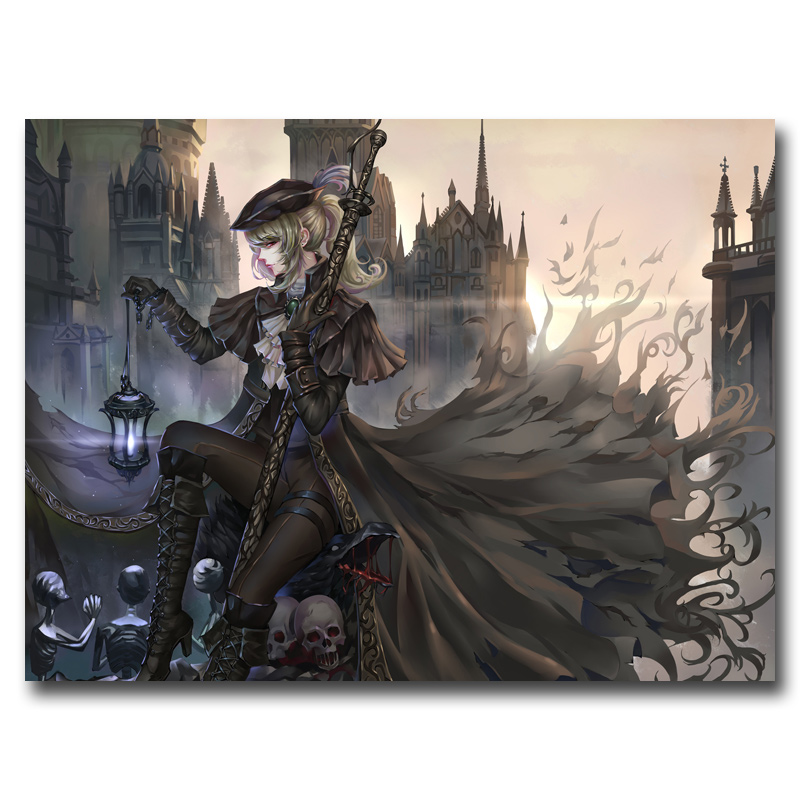 Anime Girls Bloodborne Gothic Skull Original Game Art Silk Poster Home Decor Printing 12x16 18x24 24x32 Inches Free Shipping