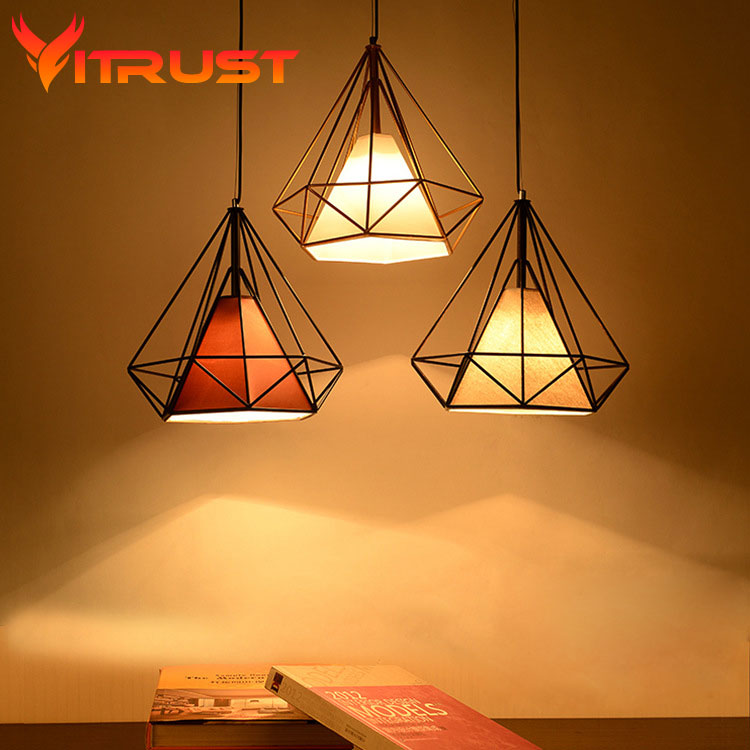 ФОТО Diamonds metal pendant lamp industrial Birdcage pendant light wrought iron lamp Home Decorative Light Fixture E27 bulb