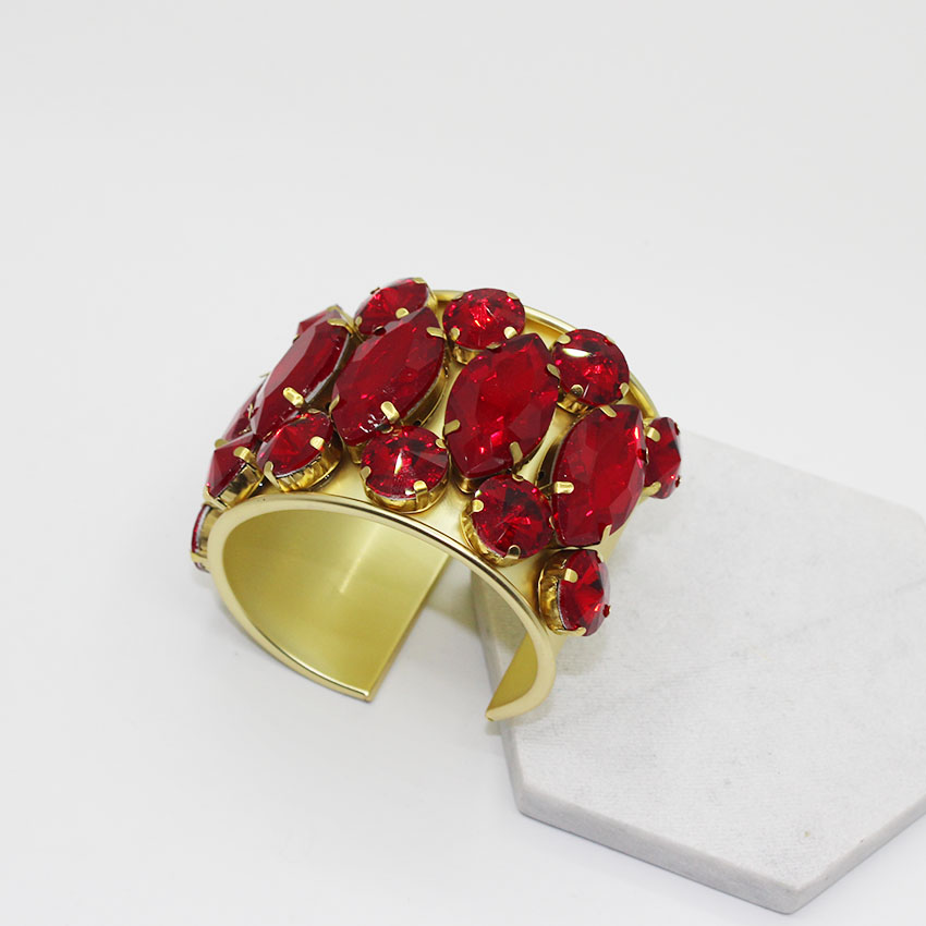 New Arrival Wedding Big Crystal Flower Bracelet Cross RED Gem Metal Vintage Word Wide Bracelet Bangle Hand Jewelry 1021