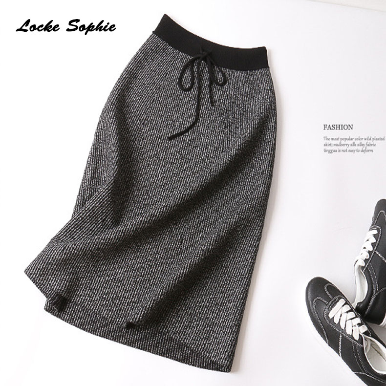 Hight waist skirts Women Plus size skirts 2019 Autumn knitting cotton Lace up elastic stripe Ladies Skinny Slim fit skirts Girls in Skirts from Women 39 s Clothing