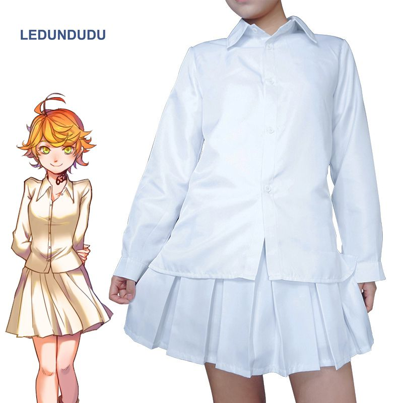 Hot Anime The Promised Neverland Cosplay Costumes Women Emma Party Fancy Uniform set Tops + Skirts For Halloween Clothes