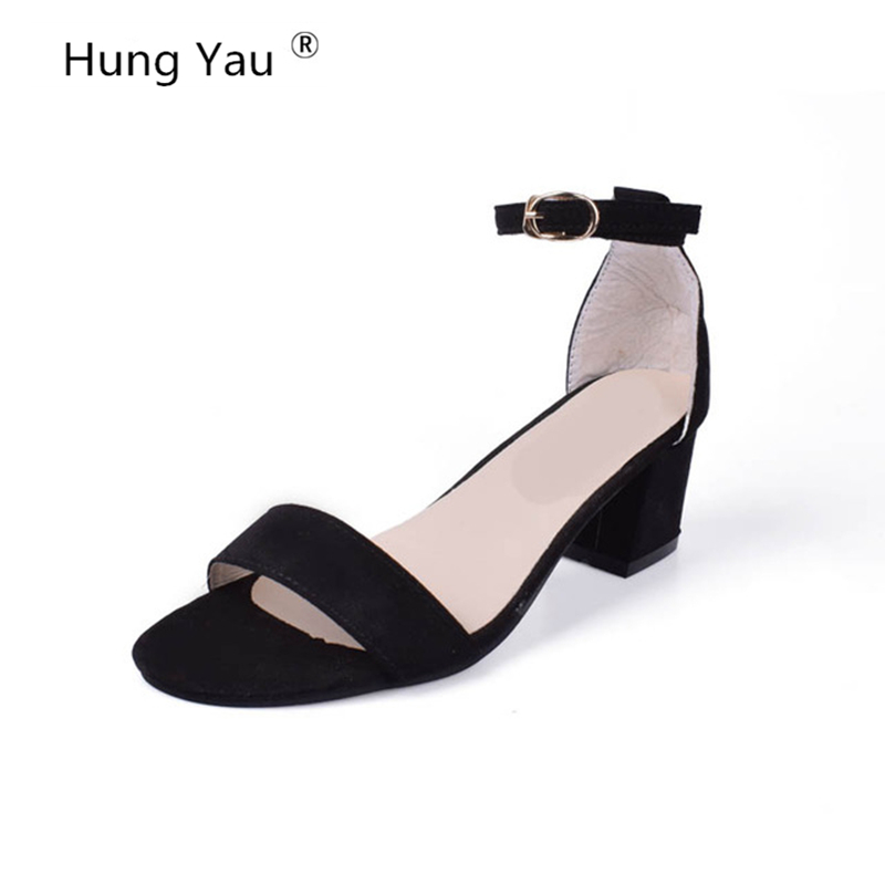 Hung Yau Women Pumps Sandals 2018 Summer Style Square Med Heel Peep Toe Hook&Loop PU leather Ladies Wedding Shoes Plus Size 9 воск kapous professional воск в кассетах с эфирным маслом петит грея 100 мл