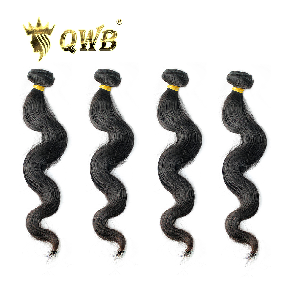 QWB Body Wave Free shipping 4Bundle Lots 12 28 Queen Weave Beauty Brazilian Virgin Nature Color