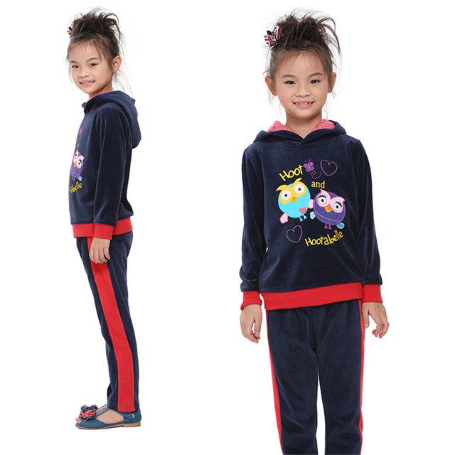 2016 nova kids girls clothes sets navy with lovely cartoon bird  winter/autumn girl clothes children clothing sets baby suits