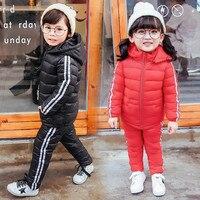 BINIDUCKLING Boy Girl Sportswear Set Children Warm Coat Down Jacket+Trousers Jacket Ski Suit For Boys Child Winter Clothes