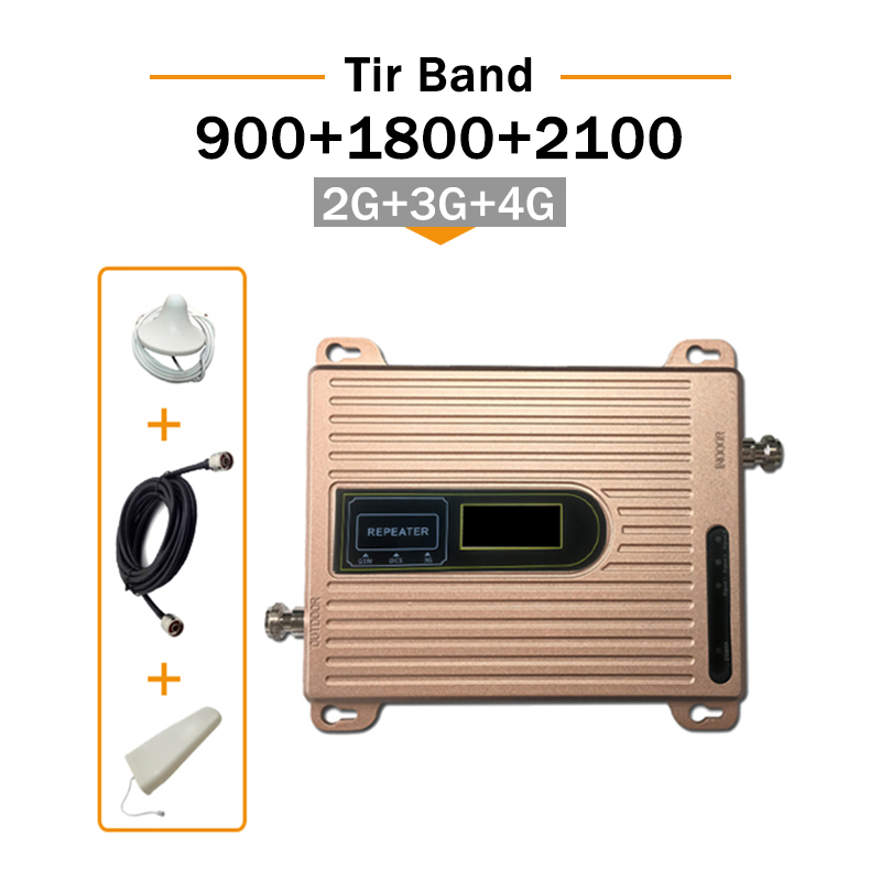 GSM 900 DCS 1800 WCDMA 2100 MHZ 2G 3G 4G Signal Booster GSM Repeater Amplifier 4G Mobile Phone Tir Band Cell Phone Booster