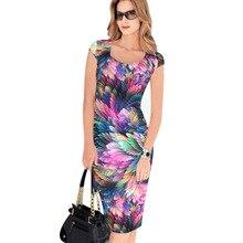 Summer Women Office Pencil Midi Dress Short Sleeve Printed Bodycon Knee Length Tunic Dress Work Sheath Formal Dresses for work