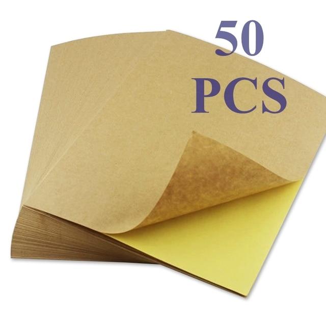 50 גיליונות A4 חום קראפט נייר מדבקות עצמי דבק הזרקת דיו לייזר A4 הדפסת תוויות