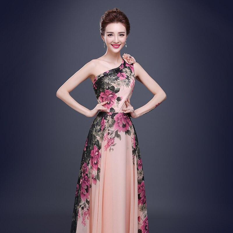 One Shoulder Long Evening Dresses 2017 New Print Flower Pattern ...