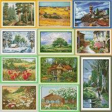 Joy Sunday Cross Stitch Landscape 11CT 14CT Cotton Thread Painting Street View Cross Stitch Embroidery Kits DIY Needlework Kits
